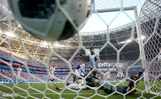 Edinson Cavani of Uruguay scores his team's third goal during the 2018 FIFA World Cup Russia group A match between Uruguay and Russia at Samara Arena...