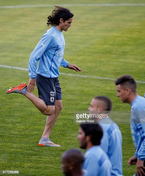 Edinson Cavani of Uruguay warms up during a training session at La Portada Stadium on June 15 2015 in La Serena Chile Uruguay will face Argentina as...