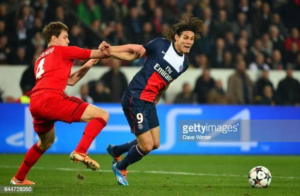 Edinson CAVANI / Philipp WOLLSCHEID Paris Saint Germain / Bayer Leverkusen 1/8Finale Champions League Photo Dave Winter / Icon Sport