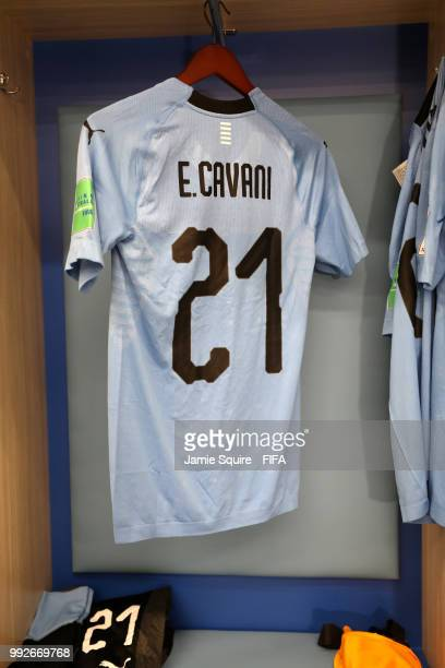 Edinson Cavani's shirt hangs inside the Uruguay dressing room prior to the 2018 FIFA World Cup Russia Quarter Final match between Uruguay and France...