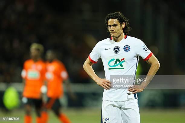 Edinson Cavanni of Paris Saint Germain during the semi-final French Cup between Lorient and Paris Saint-Germain at Stade du Moustoir on April 19,...
