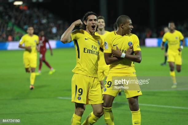 Edinson Roberto Cavani celebrates a goal during the French Ligue 1 match between FC Metz and Paris Saint Germain at Stade SaintSymphorien on...