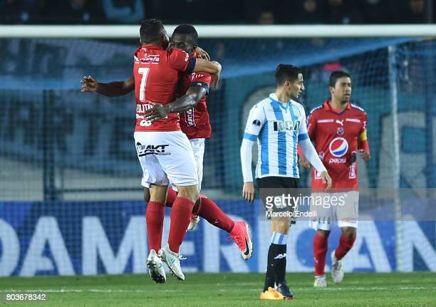 Edinson Toloza of Independiente Medellin celebrates after scoring the first goal of his team during the first leg match between Racing Club and...