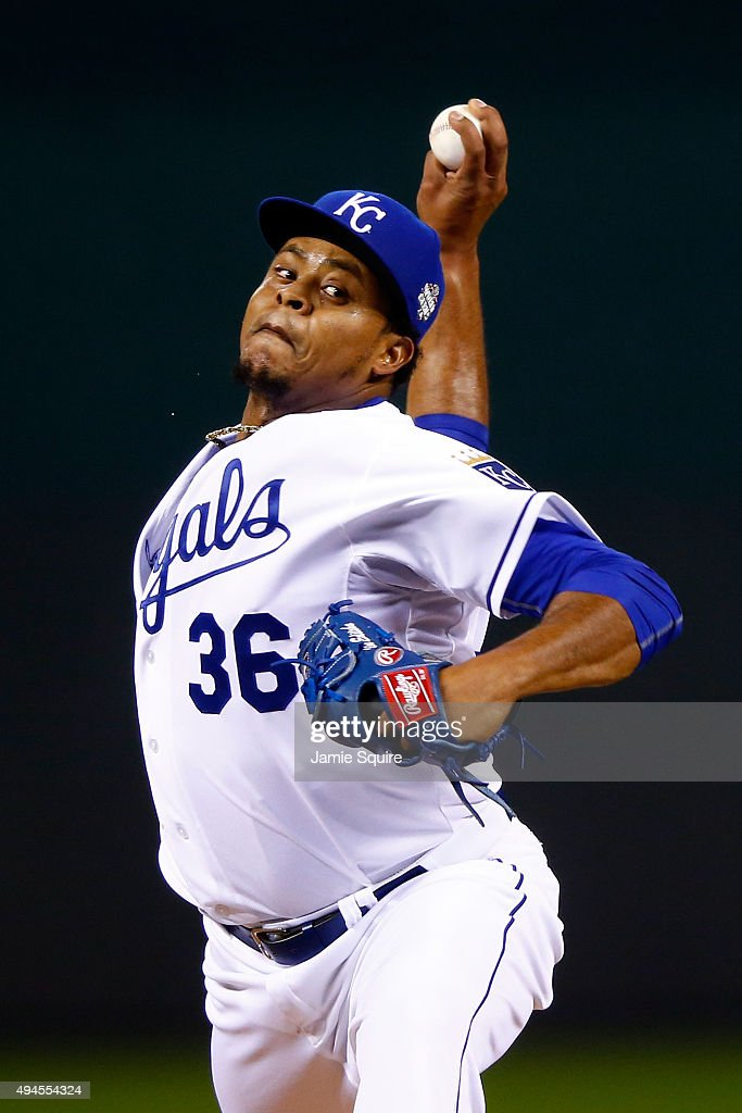 Edinson Volquez #36 of the Kansas City Royals throws a pitch in the first inning against the New York Mets during Game One of the 2015 World Series at Kauffman Stadium on October 27, 2015 in Kansas City, Missouri.