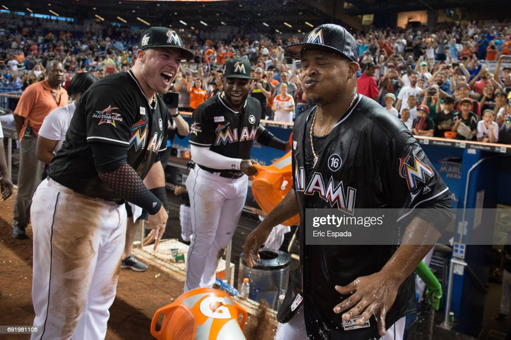Edinson Volquez #36 of the Miami Marlins reacts after getting water thrown at him after throwing a no hitter against the Arizona Diamondbacks throw at Marlins Park on June 3, 2017 in Miami, Florida.
