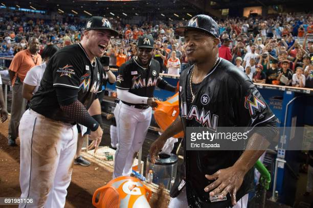 Edinson Volquez of the Miami Marlins reacts after getting water thrown at him after throwing a no hitter against the Arizona Diamondbacks throw at...