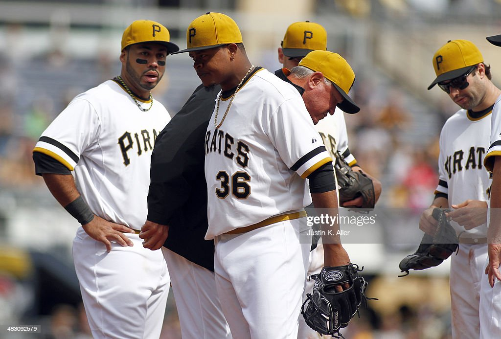 Edinson Volquez #36 of the Pittsburgh Pirates walks off the field in the sixth inning after giving up one run against the St. Louis Cardinals during the game at PNC Park April 6, 2014 in Pittsburgh, Pennsylvania. The Pirates defeated the Cardinals 2-1.