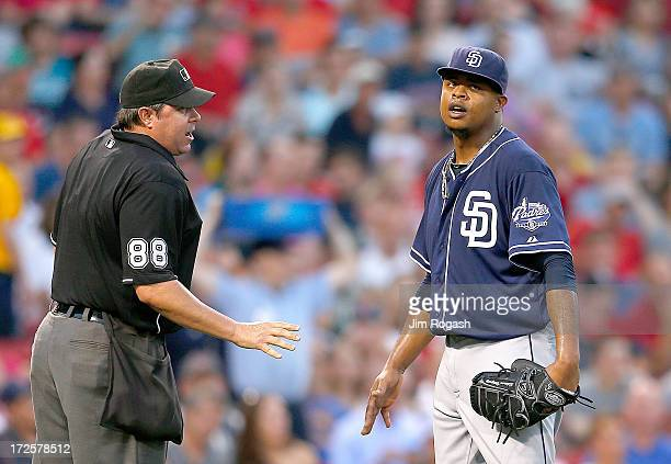 Edinson Volquez of the San Diego Padres is issued a warning after he hit Jose Iglesias of the Boston Red Sox by a pitch thrown in the 3rd inning at...