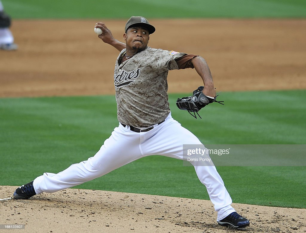 Edinson Volquez #37 of the San Diego Padres pitches during the fourth inning of a baseball game against the Arizona Diamondbacks at Petco Park on May 5, 2013 in San Diego, California. The Padres won 5-1.