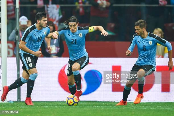 Edison Cavani from Uruguay controls the ball while Poland v Uruguay International Friendly soccer match at National Stadium on November 10 2017 in...