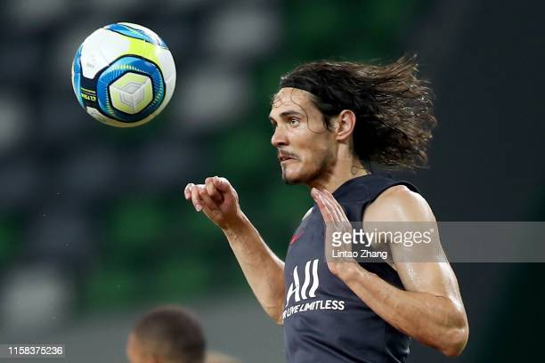 Edison Cavani of Paris SaintGermain in action during the training session at Suzhou Olympic Sports Center Stadium one day before their match against...