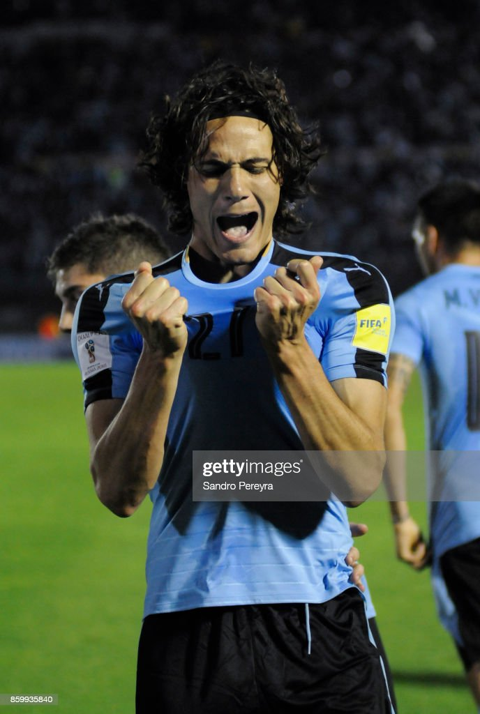 Edison Cavani of Uruguay celebrates after scoring his team's second goal during a match between Uruguay and Bolivia as part of FIFA 2018 World Cup Qualifiers at Centenario Stadium on October 10, 2017 in Montevideo, Uruguay.
