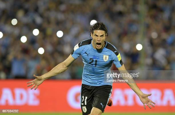 Edison Cavani of Uruguay celebrates after scoring the first goal of his team during a match between Uruguay and Brazil as part of FIFA 2018 World Cup...