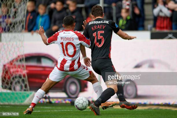 Edison Flores of AaB Aalborg and Bozhidar Kraev of FC Midtjylland compete for the ball during the Danish Alka Superliga match between FC Midtjylland...