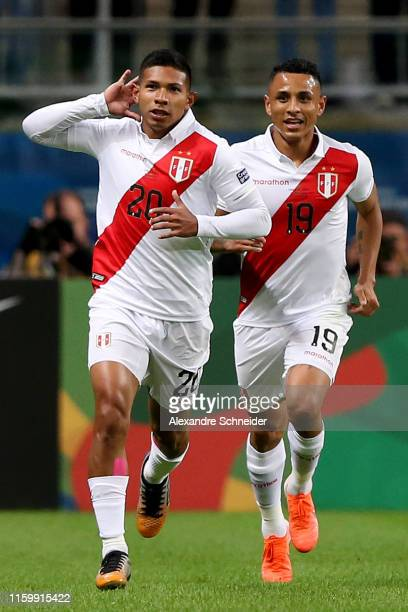 Edison Flores of Peru celebrates after scoring the first goal of his team during the Copa America Brazil 2019 Semi Final match between Chile and Peru...