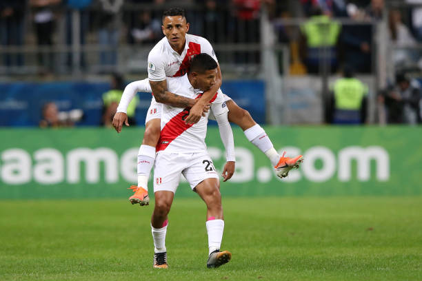 Edison Flores of Peru celebrates after scoring the first goal of his team with teammate Yoshimar Yotun during the Copa America Brazil 2019 Semi Final...