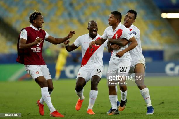 Edison Flores of Peru celebrates after scoring the third goal of his team with teammates Renato Tapia and Luis Advincula during the Copa America...