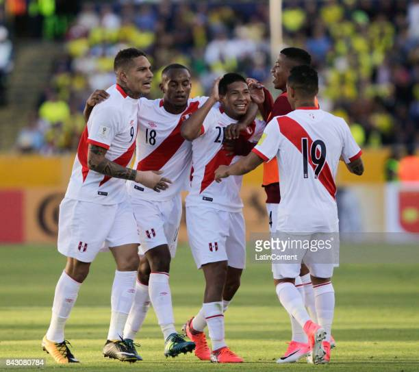 Edison Flores of Peru celebrates with teammates after scoring the first goal of his team during a match between Ecuador and Peru as part of FIFA 2018...