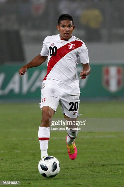 Edison Flores of Peru drives the ball during the international friendly match between Peru and Scotland at Estadio Nacional de Lima on May 29 2018 in...