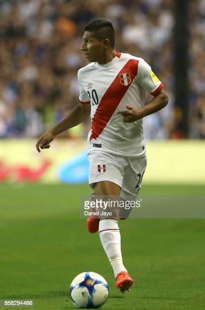 Edison Flores of Peru plays the ball during a match between Argentina and Peru as part of FIFA 2018 World Cup Qualifiers at Estadio Alberto J Armando...