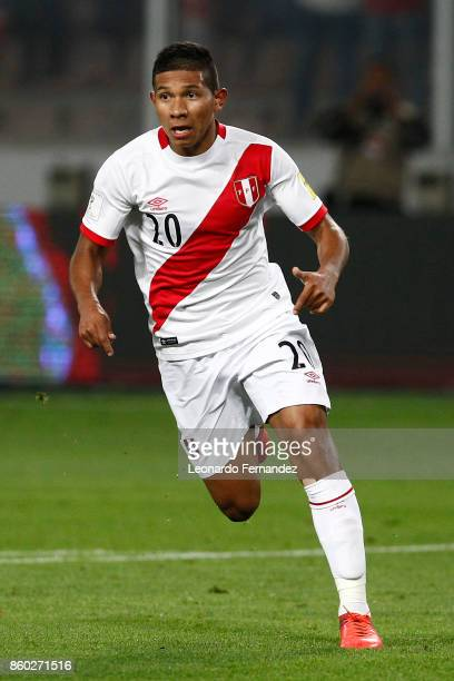 Edison Flores of Peru runs during match between Peru and Colombia as part of FIFA 2018 World Cup Qualifiers at National Stadium on October 10 2017 in...