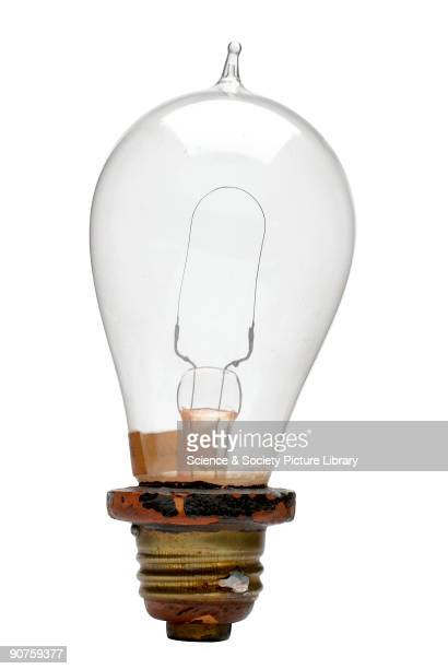 Edison's filament lamp United Stated 1879 Made by Thomas Alva Edison this lamp has a single loop of carbon which glowed when a current flowed through...