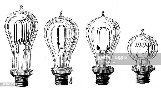 Edison's incandescent lamps showing various forms of carbon filament 1883 Thomas Alva Edison American physicist and inventor produced the first...