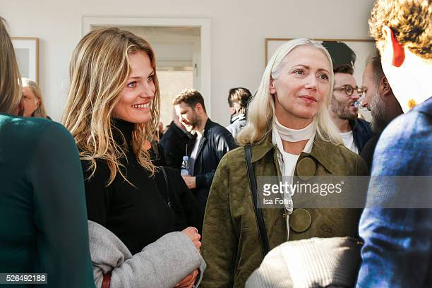 Edita Vilkeviciute and Christiane Arp at 'Der Berliner Fotografie Salon Edition 1' on April 29 2016 in Berlin Germany