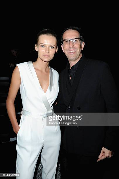 Edita Vilkeviciute and Nicolas Hieronimus attend the ViktorRolf show as part of Paris Fashion Week Haute Couture Spring/Summer 2014 on January 22...