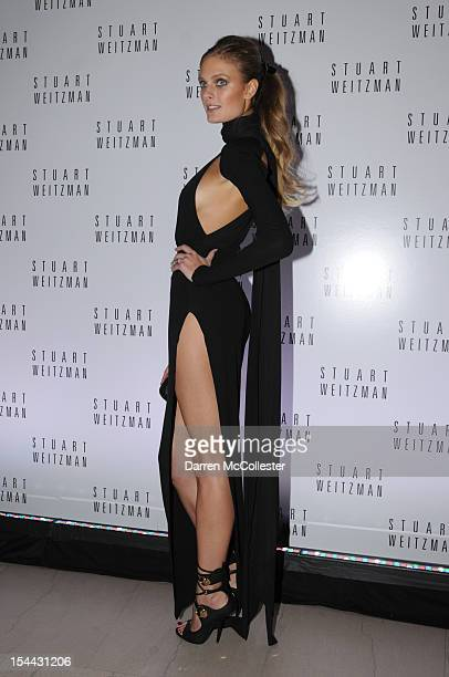 Edita Vilkeviciute attends Stuart Weitzman celebration of Mario Testino's first US photography exhibits at The Museum of Fine Arts William Koch...