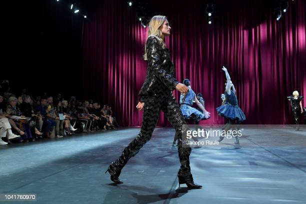 Edita Vilkeviciute walks the runway during the Redemption show as part of the Paris Fashion Week Womenswear Spring/Summer 2019 on September 27 2018...