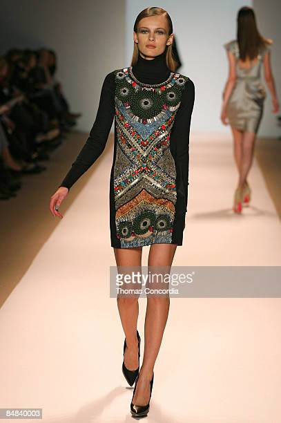 Edita Vilkeviciute walks the runway wearing the Matthew Williamson Fall 2009 during MercedesBenz Fashion Week at The Promenade in Bryant Park on...