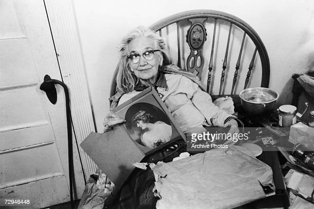 Edith 'Big Edie' Bouvier Beale whose niece was Jacqueline Kennedy Onassis with a portrait of her younger self at home in Grey Gardens a rundown...