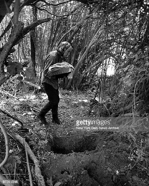 Edith Bouvier Beale carries 20yearold cat to gravsite in back yard of her home on West End Road in East Hampton LI