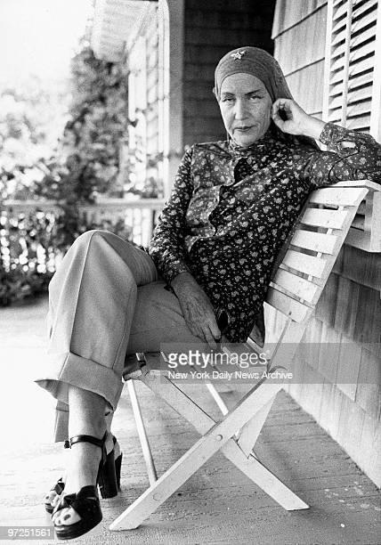 Edith Bouvier Beale outside her home in East Hampton LI