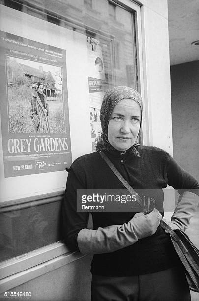 Edith Bouvier Beale poses near the Paris Theater in New York where the controversial film Grey Gardens is playing Some critics have labeled the film...