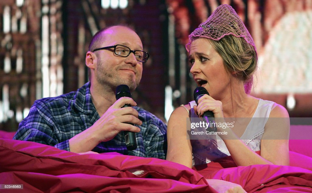 Edith Bowman and Adrian Edmondson are seen performing at the ninth eviction show for 'Comic Relief Does Fame Academy' at Lambeth College on March 9, 2005 in London. The new series sees 13 celebrities go head to head in the ultimate celebrity singing competition, with the grand final announcing the winner on March 11, Red Nose Day 2005.