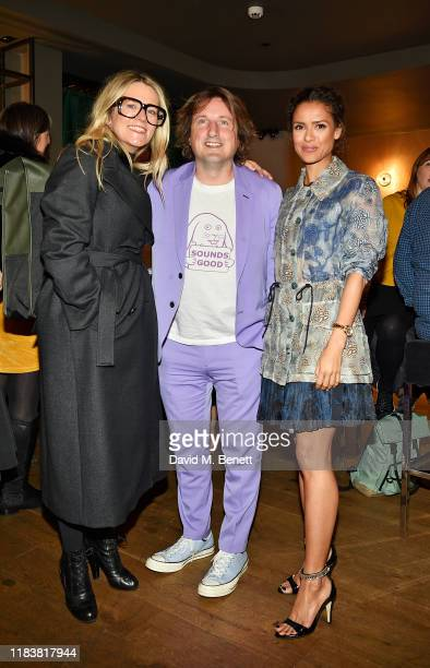 Edith Bowman Daniel Pemberton and Gugu MbathaRaw attend the Motherless Brooklyn BAFTA screening reception at Vue Leicester Square on November 21 2019...