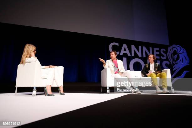 Edith Bowman Lead Singer of Duran Duran and Syn Music Cofounder Simon Le Bon and CEO and Creative Director of Syn Music Nick Wood speak during the...