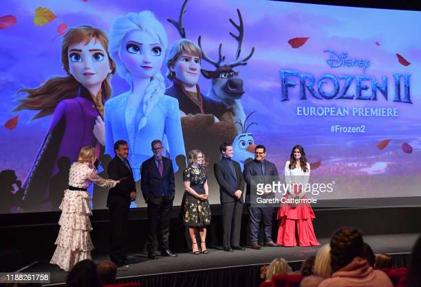 Edith Bowman Peter Del Vecho Chris Buck Jennifer Lee Jonathan Groff Josh Gad and Idina Menzel attend the European Premiere of Disney's Frozen 2 on...