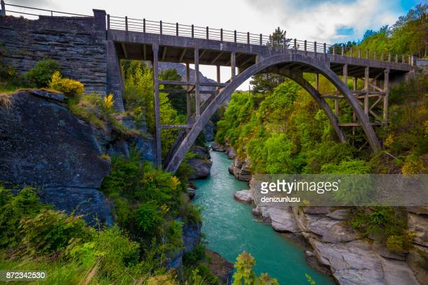 edith cavell bridge - queenstown stock pictures, royalty-free photos & images