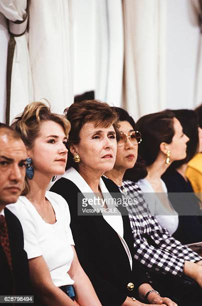 Edith Cresson at the Torrente Haute Couture Fall/Winter 19911992 fashion show during the Paris Fashion Week in July 1991 in Paris France