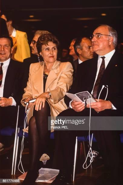 Edith Cresson et Helmut Kohl le 31 mars 1992 à Hanovre Allemagne