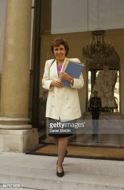 Edith Cresson Premier minsitre a l'issue du Conseil des Ministres au Palais de L'Elysee le 11 septembre 1991 a Paris France