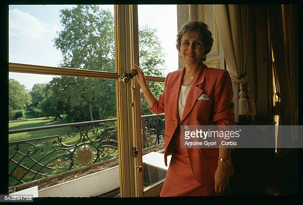Edith Cresson the first woman Prime Minister of France in her office in the Matignon Hotel