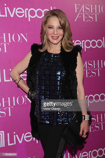 Edith Gonzalez attends the Liverpool Fashion Fest Autumn/Winter 2013 at Club de Banqueros on August 22 2013 in Mexico City Mexico