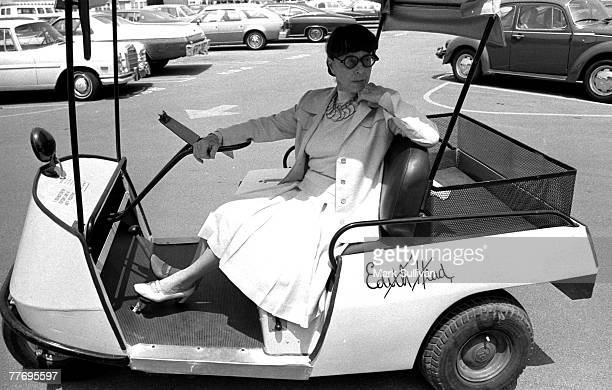 Edith Head outside her office on the lot of Universal Studios in Universal City CA June 23 1975 Various Locations Mark Sullivan 70's Rock Archive...