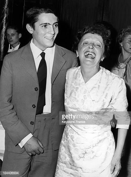 Edith PIAF and Marcel Cerdan's son, aged 15 during a party at Maxim's.