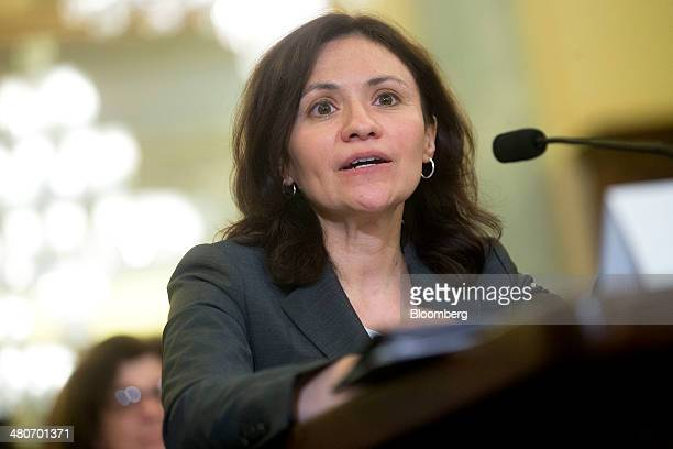 Edith Ramirez chairwoman of the US Federal Trade Commission speaks during a Senate Commerce Committee hearing in Washington DC US on Wednesday March...