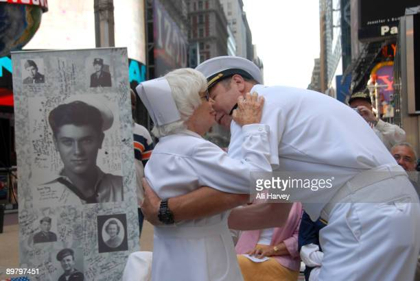 Edith Shain and Lt Bob Skibar reenact Alfred Eisenstaedt's famous photo of the Times Square victory kiss on August 14 2009 in New York City